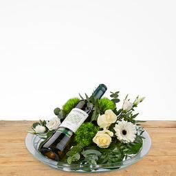 Bloemstuk wit met wijn